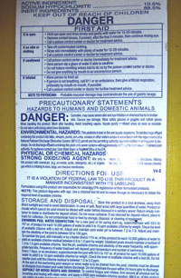 chlorine jug environmental warning label
