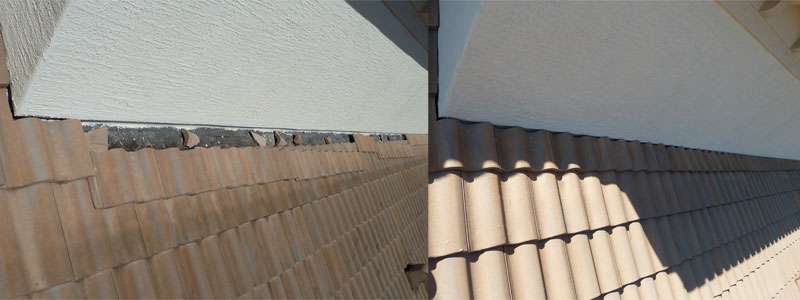 tile roof repairs to wall abutment